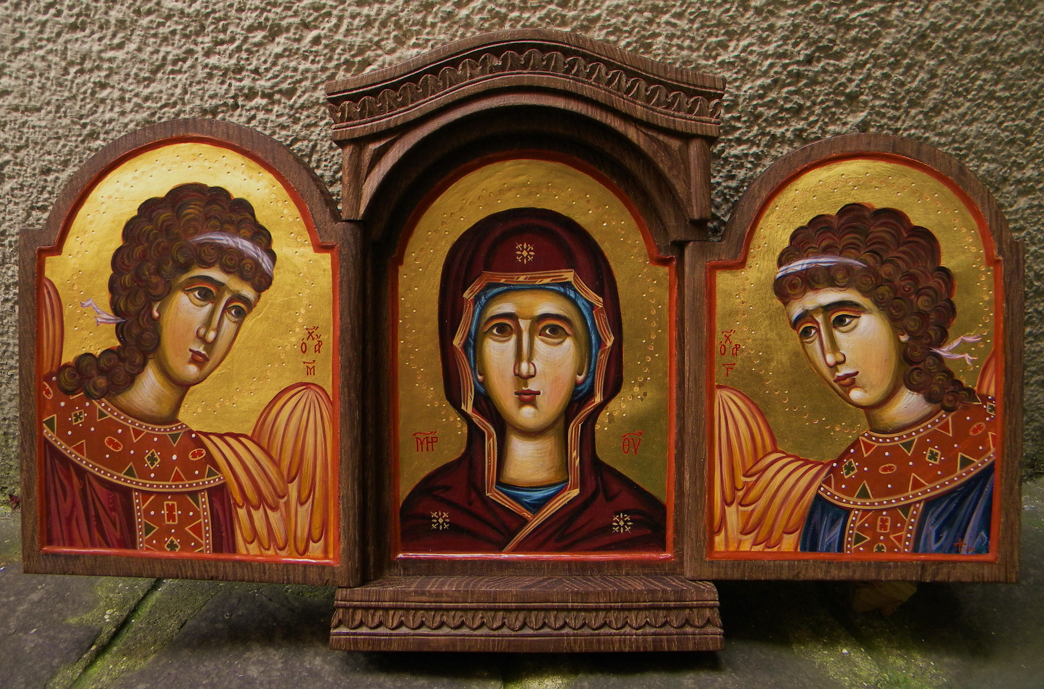The Мother of God with Saint Michael and Saint Gabriel 38x23x3,5