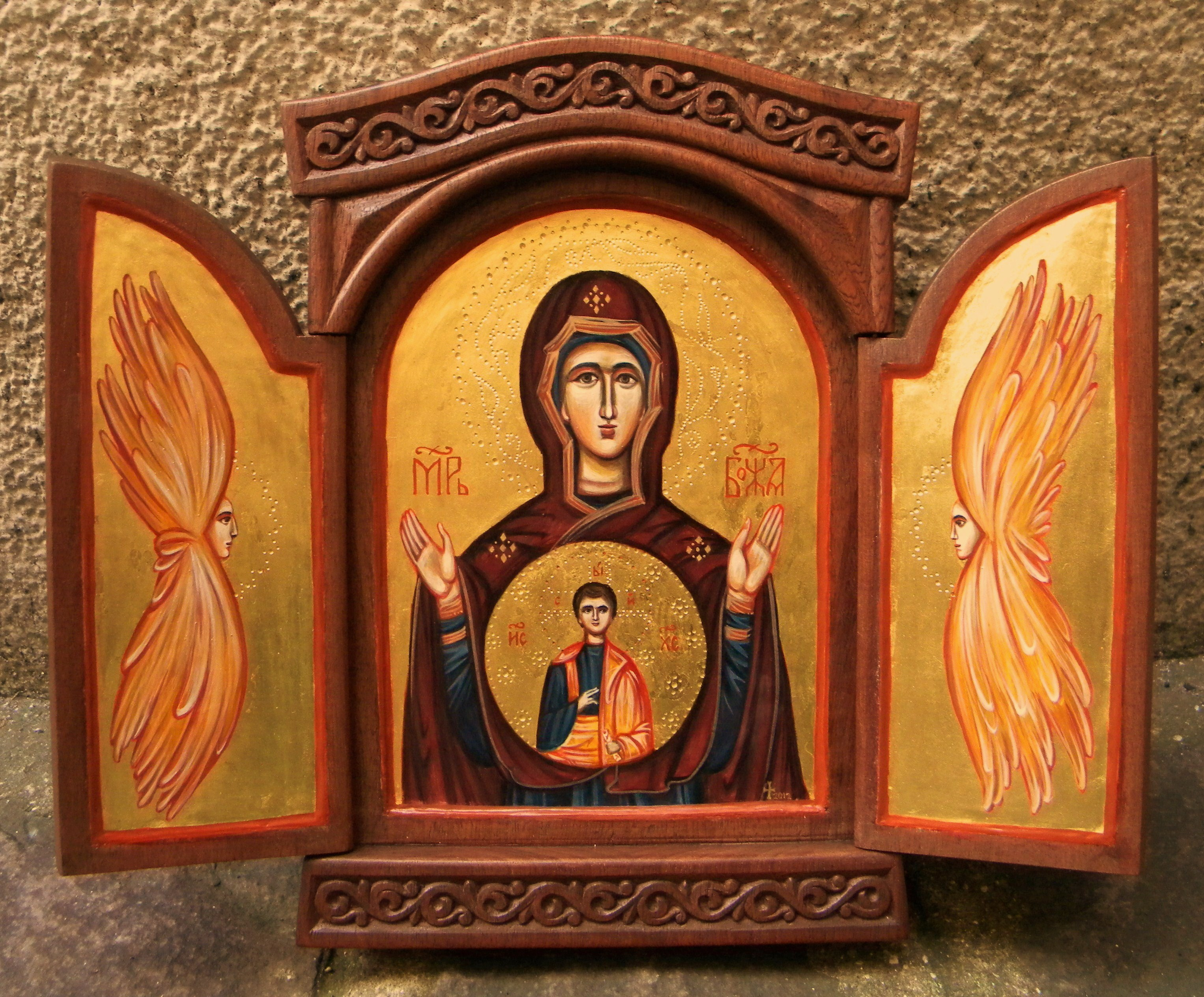 The Mother of God with cherubims 24,5x20,5x2,5